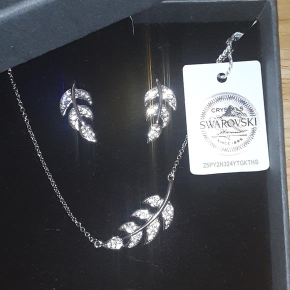 Swarovski leaf earrings + necklace